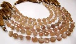 Natural Peach Moonstone Quartz Heart Shape Briolette Faceted Beads 8mm Strand 8 Inches.