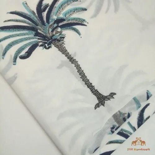 Mulmul 3-4 Days Hand Block Printed Palm Tree Print Cotton Fabric, GSM: 50-100, for Garments