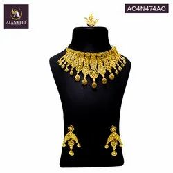 Alankeet Indian Traditional Choker  with Necklace Earrings Set Ethnic Wedding Designer Jewelry