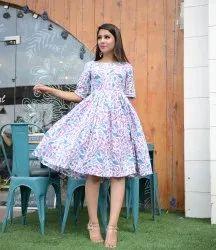 Printed Flare Purple Dress