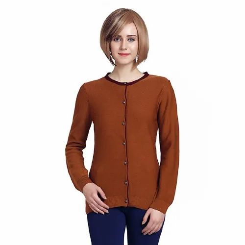 Round Neck Casual Wear Buttoned Women Cardigan