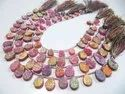 Natural Titanium Coated Agate Pink Druzy Pear Shape Briolette Beads