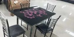 gujjubazar Black Printed Glass 4 Seater Dining Table