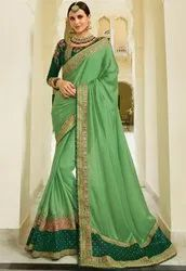 Pistachio Green Designer Silk Saree with Double Blouse