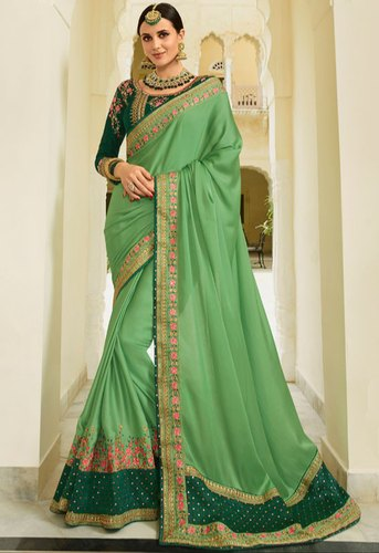 97a3cac4bbd62 Pistachio Green Designer Silk Saree With Double Blouse