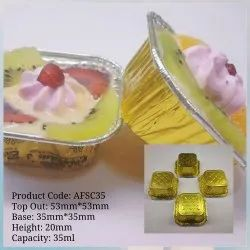 Golden Aluminium Foil SQUARE MITHAI CUP, For Sweet Shop, Packaging Type: Carton Box