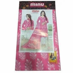Pink and White Minu Ladies Cotton Unstitched Salwar Suit
