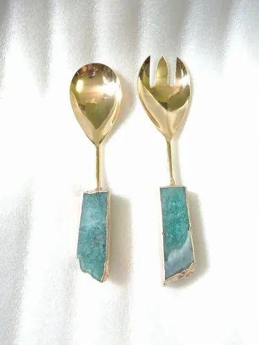 Green Agate salad set spoon