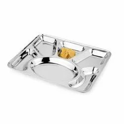 Stainless Steel Lunch Dinner Plate Compartment Rectangular Trays 2,3,4,5 & 6 Compartment Plate