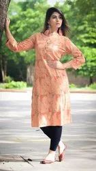 Cotton Dobby Printed Straight Casual Kurta