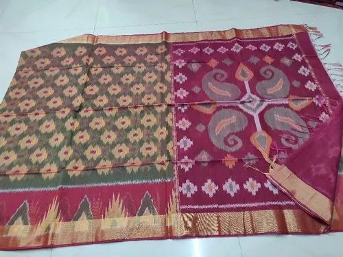 Multy 6.3 m (with blouse piece) Handloom ikkath saree,normalwash