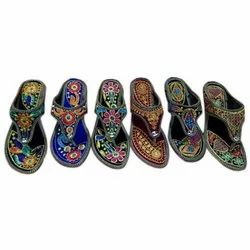 Multicolor Women Ladies Punjabi Embroidered Slipper, Size: 7-12, Packaging Type: Box