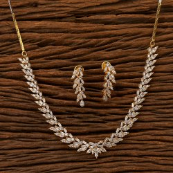 Cz Classic Necklace Set With 2 Tone Plating 401288