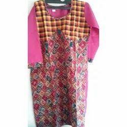 Ethnic Printed Cotton Party Wear Kurti, Wash Care: Handwash