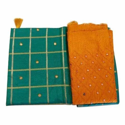 SLS Mirror Work Silk Dress Material, Features: Shrink Proof