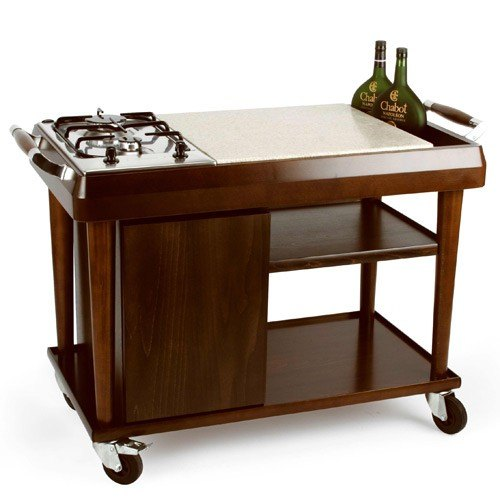 Brown Wooden Flamble Trolley