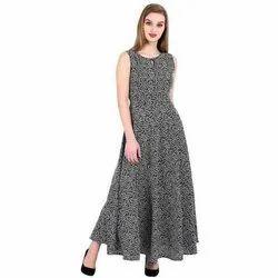 Crepe Ladies Trendy Printed Dress