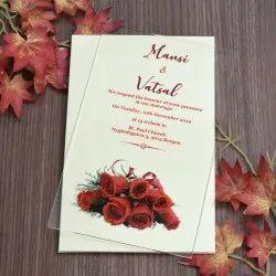 Single Fold Insert Four Color Flowery Acrylic Wedding Invite, Size: 8