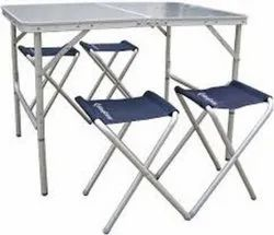 Silver Kingcamp KC3850 Aluminium Table with 4 Stool Set, Size: 100 X 70 X 44/68 cm