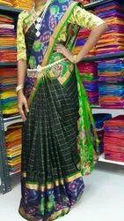 Ladies Check Green Silk Saree