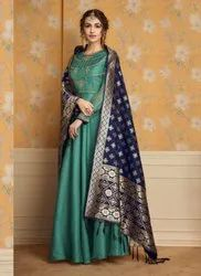 Party Wear Designer Gown With Banarasi Dupatta