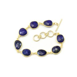 Lapis Bezel Set Gemstone Bracelet