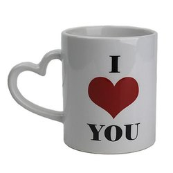 Heart Shaped Handle Printed Ceramic Mug