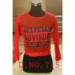 Cotton Printed Ladies Full Sleeve T-Shirt