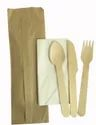 Individual Paper Wrapped Wooden Cutlery Pack With Napkins