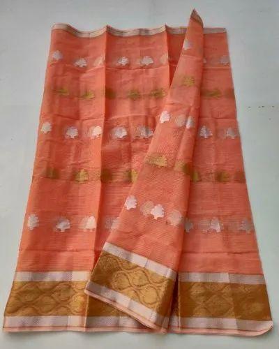 Orange Ladies Cotton Printed Saree