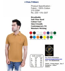Punay Garments Half Sleeve Plain Polo Cotton T-Shirt