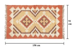 Handicraf-Palace Geometric Multicolor Jute & Wool Carpet