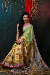 Cotton Linen Digital Printed Sarees
