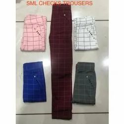 Regular Fit Ladies Cotton Casual Check Trousers, Waist Size: S-L