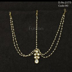 Traditional Delicate Kundan Damini with Pearl Chain