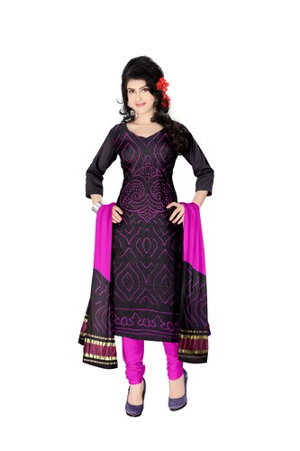 Black And Pink Color Fancy Design Gaji Silk Dress Material