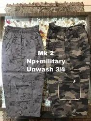 Mens Cotton Printed + Military Capri, Size: 28-34waist
