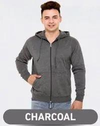 Unisex Hooded Samyak Wear Charcoal Grey Zipper Hoodie, Machine wash
