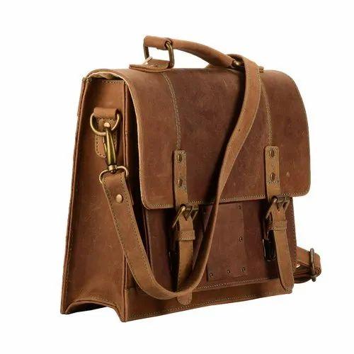 Men Leather Laptop Briefcase Business Bag Satchel Messenger Portfolio Bags Brown