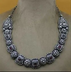 Fancy Casual Wear Silver Necklace