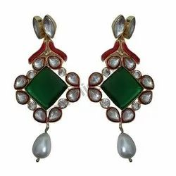 Green Diamond Studded Earring