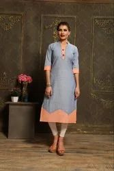 Cotton With Hand Work Kurti