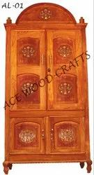 Brown Hinged Ace Wood Crafts Handmade Wooden Almirah / Wardrobe, For Home, Number Of Doors: 2
