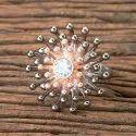 Brass White Black Rose Plated Designer Classic Ring 406991