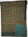Indian Kantha Quilt Ajrakh Pirnt Block Print Ikat Bedspread Ethnic Vintage Art