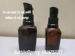 Amber Square Bottle In 20/30 Ml With Pump