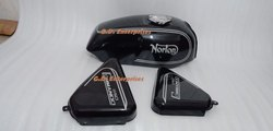 Norton Commando Roadster Black Painted Gas Fuel Petrol Tank With Side Panel