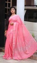 Pink Pure Linen Silk Plain Saree