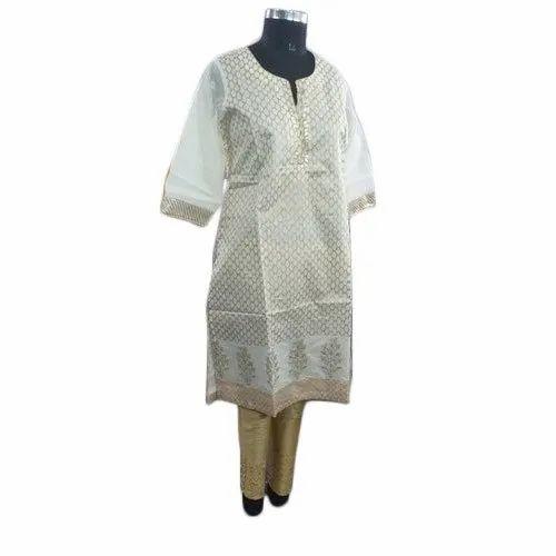 Cotton Stitched Ladies Chanderi Kurti With Pant, Machine wash