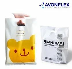 Printed White Plastic Shopping Bag, Thickness: 60 - 150 Micron